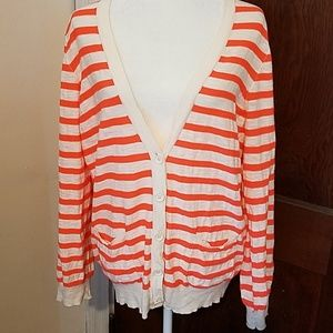 J. Crew Factory Sweaters - J CREW neon striped oversized cardigan